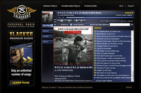 Slacker Radio's Web Interface
