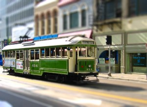 Trolley in Memphis - Tilt Shift Image