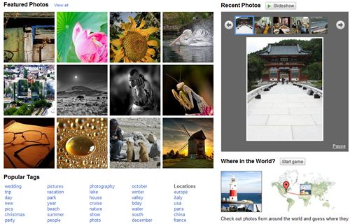 Picasa Web's Explore Screen
