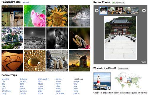 Picasa Web's Explore Screen