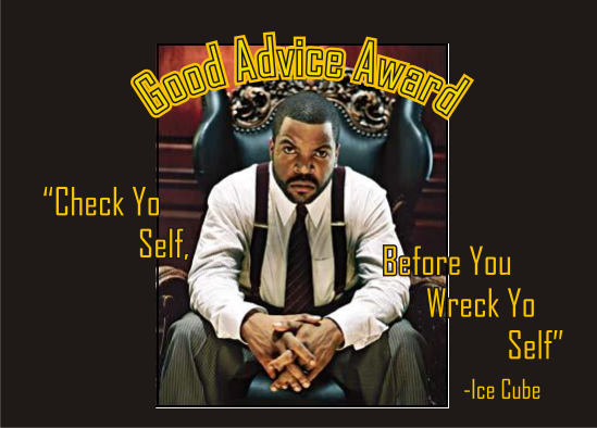 Good Advice Award - Check Yo Self, Before You Wreck Yo Self - Ice Cube
