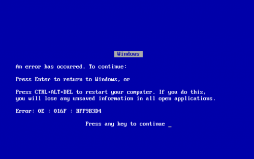 Window Blue Screen of Death